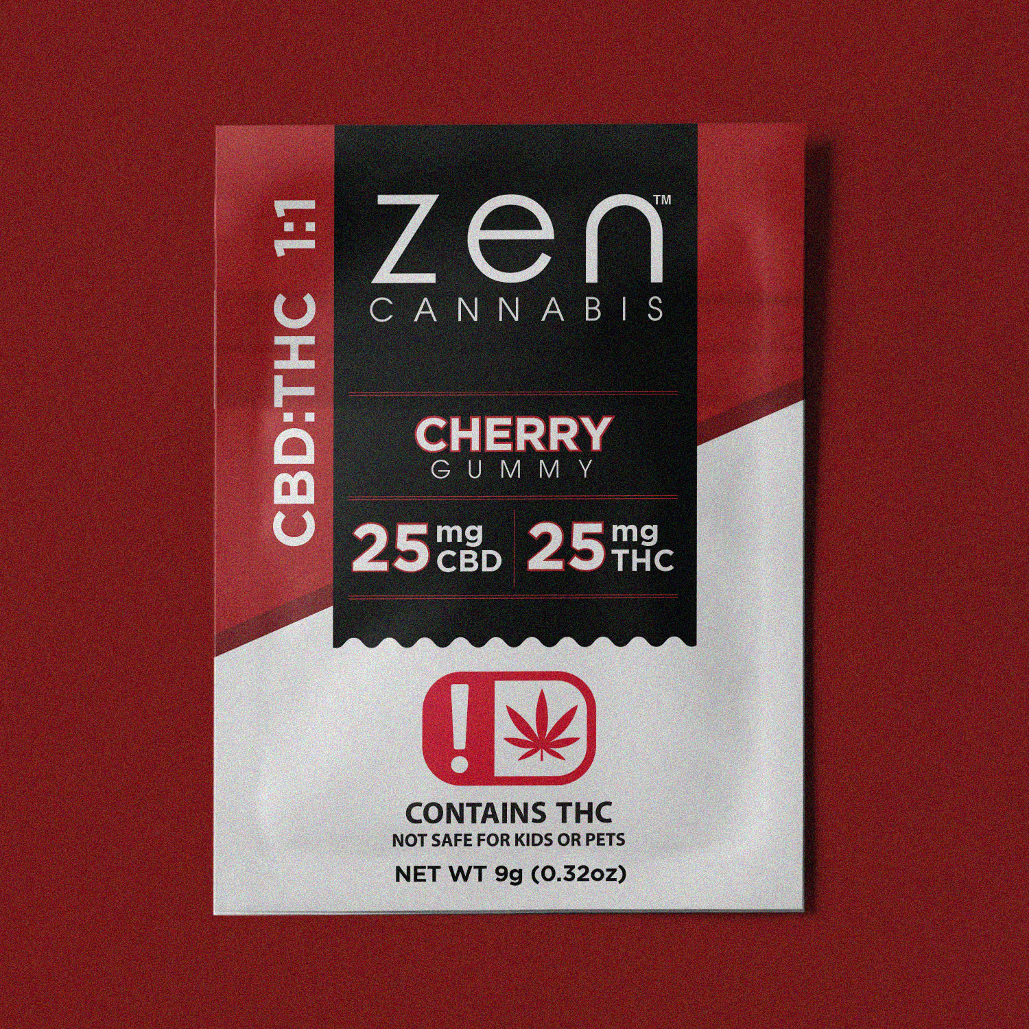CBD:THC | 1:1 A rush of rich and bold cherry flavor to soothe your body and mind. Contains 25mg THC and 25mg CBD. Gluten