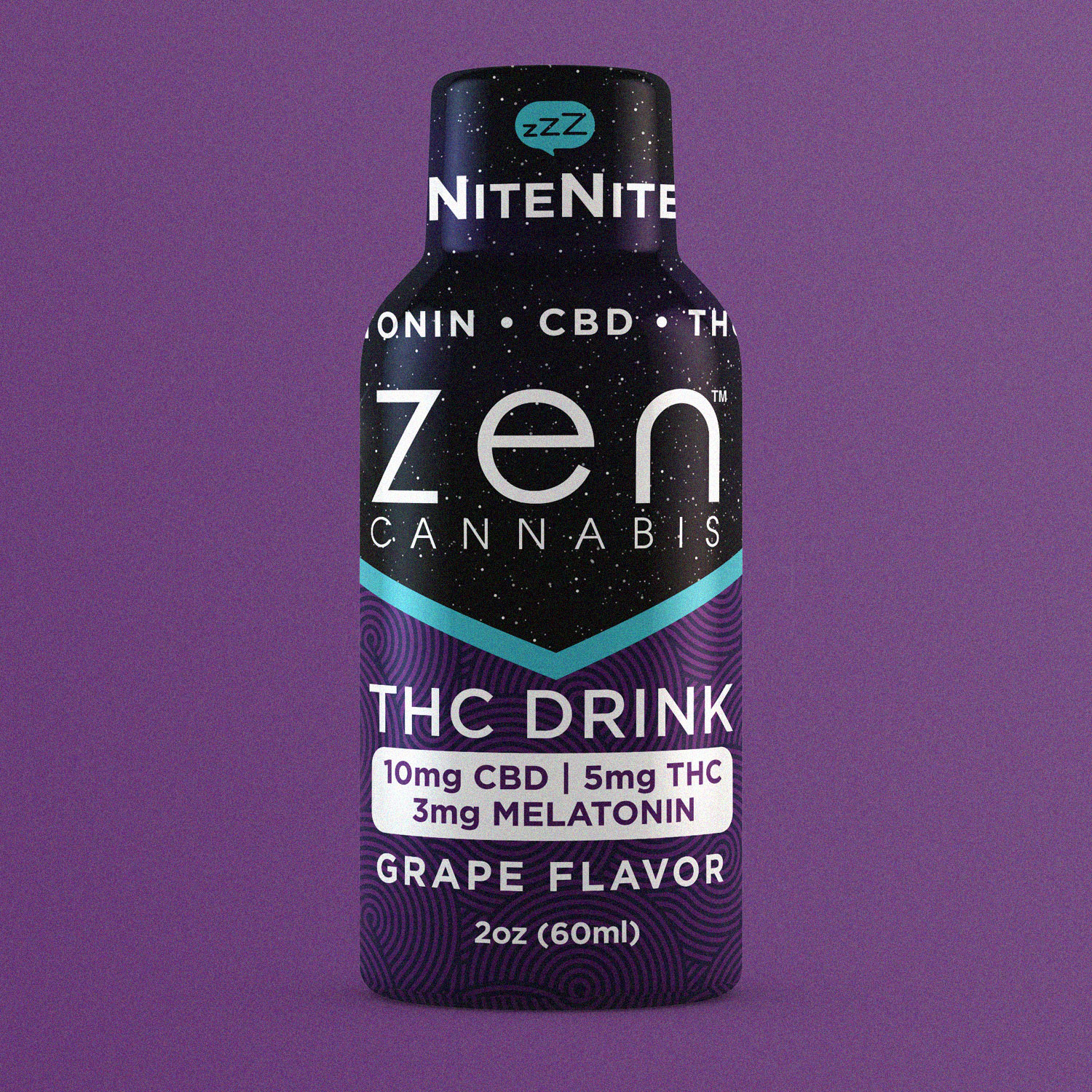 NiteNite™ INDICA    40mg CBD • 10mg THC   5mg Melatonin per bottle A two-ounce grape flavored nightcap of bliss, the NiteNite drink uses a healthy dose of CBD, a small dose of THC, and a splash of Melatonin to help you ease into restful and relaxing sleep.  2oz (60ml)