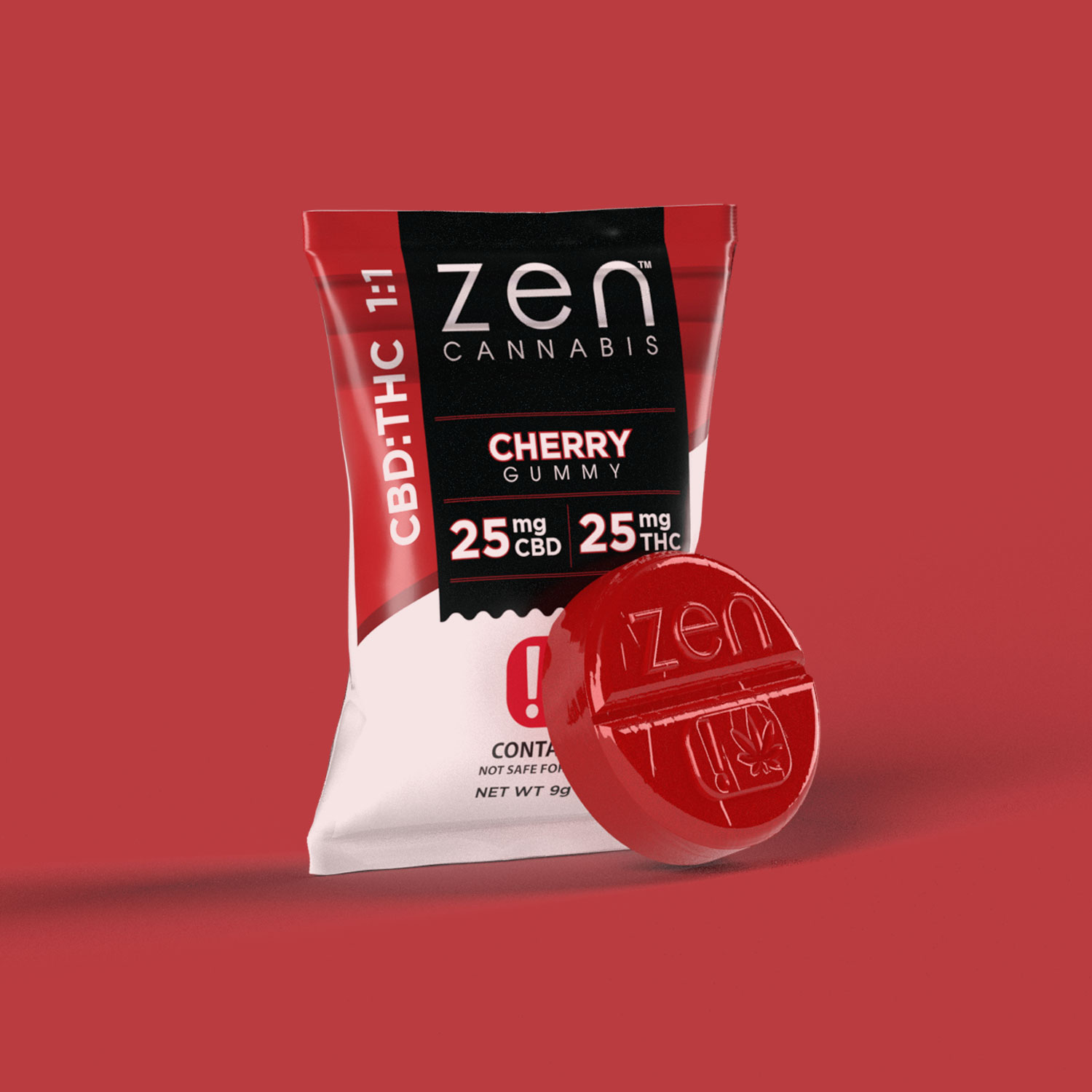 CBD:THC | 1:1 A rush of rich and bold cherry flavor to soothe your body and mind. Contains 25mg THC and 25mg CBD. Gluten & fat-free