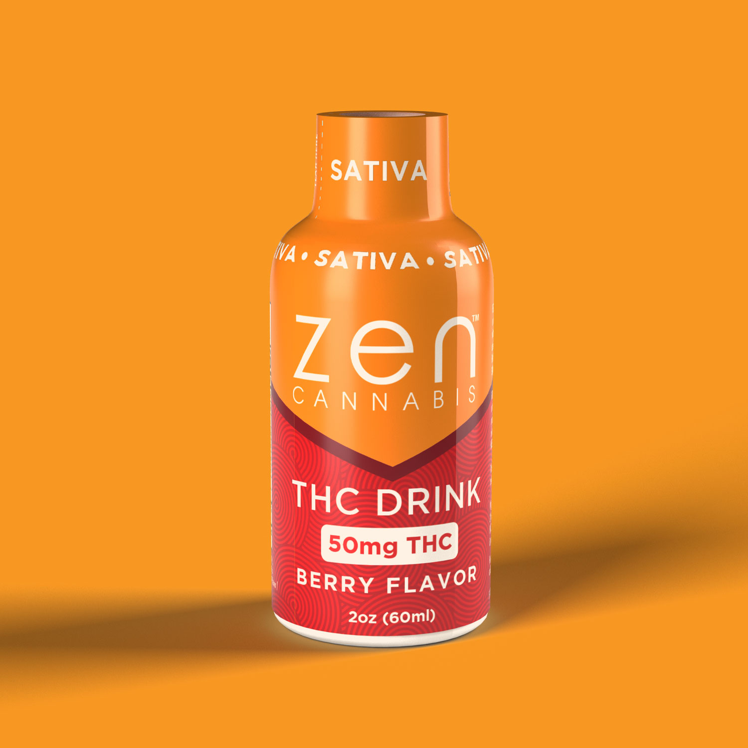 SATIVA   50mg THC A two-ounce burst of delectably sweet berry flavor to make your aches and pains melt away without the dragging you down. This sativa drink will invigorate your taste buds and keep you relaxed and pain-free without putting you to sleep. 50mg THC per bottle   2oz (60ml)