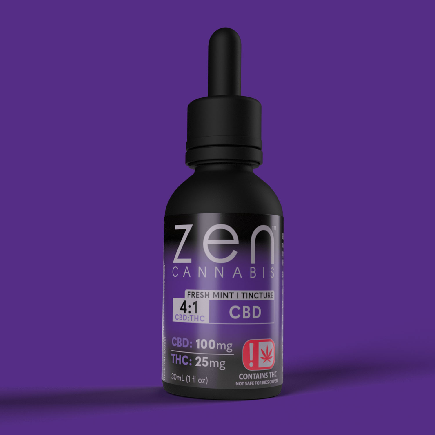 FRESH MINT 25mg THC per bottle 100mg CBD per bottle Bursting with fresh mint flavor, Zen Cannabis CBD tincture provides relief to your body and mind. This CBD-heavy tincture will keep you alert, relaxed and in control.  25mg THC | 100mg CBD 1oz (30ml)