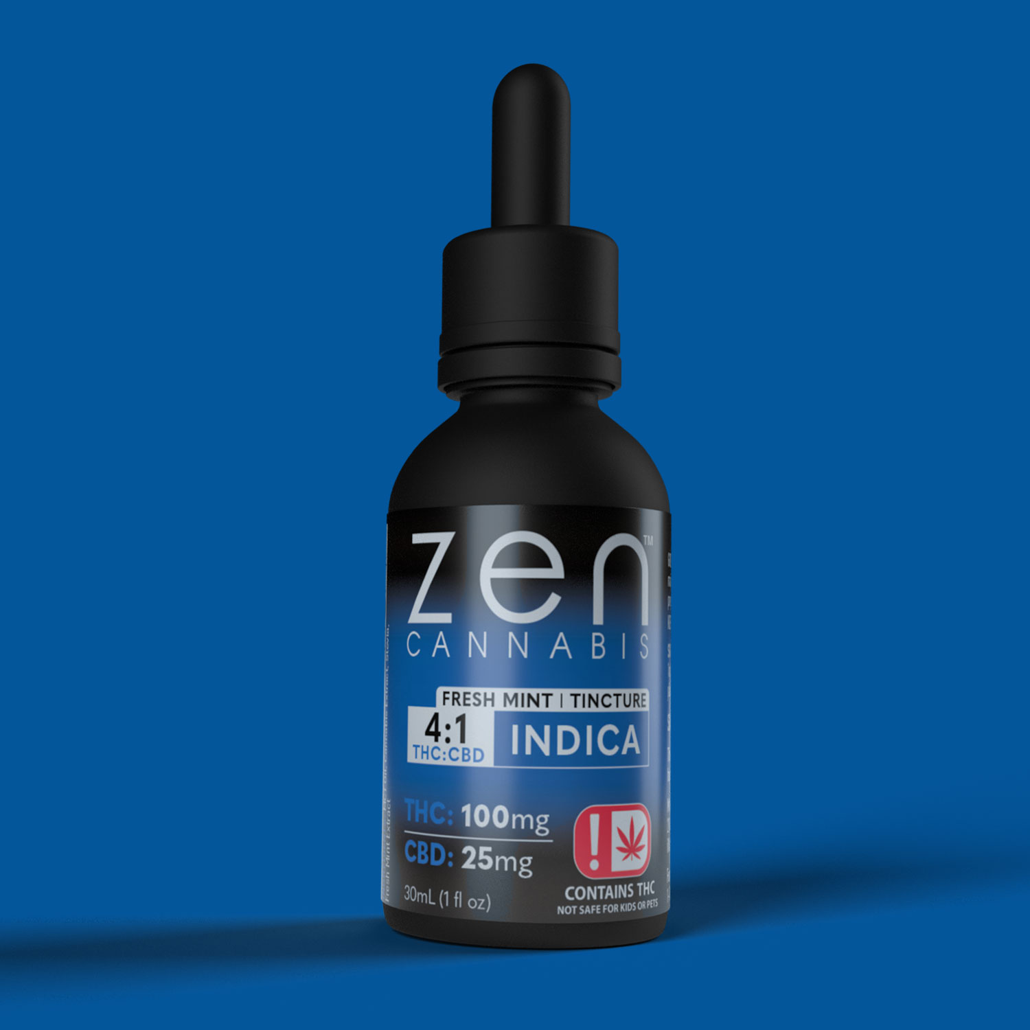 FRESH MINT 100mg THC per bottle 25mg CBD per bottle Bursting with fresh mint flavor, the Zen Cannabis Indica tincture provides amazing relief using the best of both THC, CBD and terpenes to give you a relaxing and refreshing experience that you can control.  100mg THC   25mg CBD 1oz (30ml)