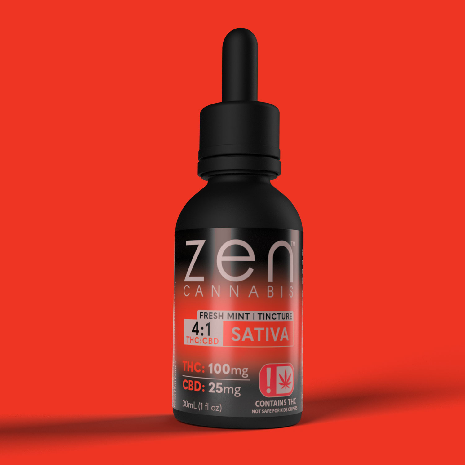 FRESH MINT 100mg THC per bottle 25mg CBD per bottle Bursting with fresh mint flavor, the Zen Cannabis Sativa tincture provides the incredible benefits of both THC, CBD and terpenes to give you an uplifting and rejuvenating experience without dragging you down.  100mg THC   25mg CBD 1oz (30ml)