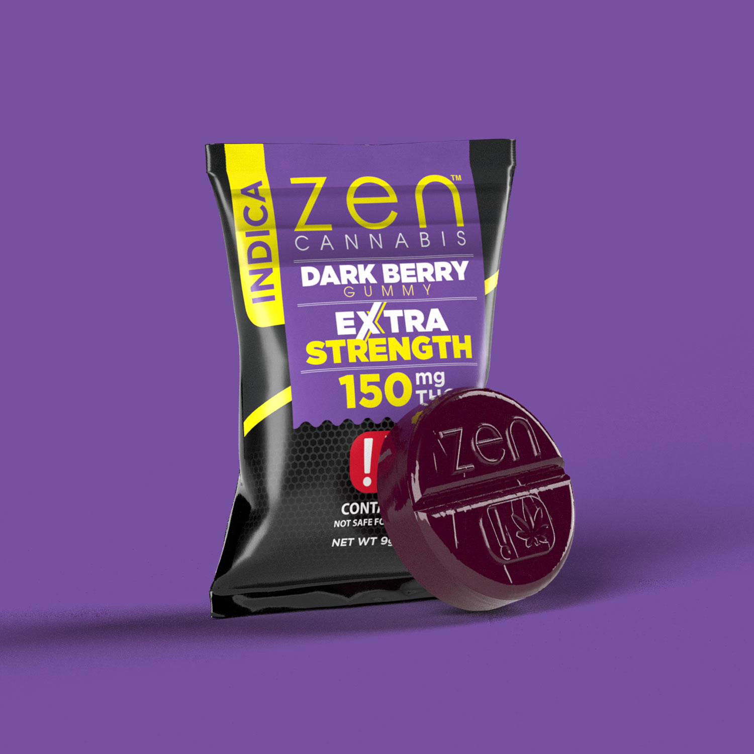 EXTRA STRENGTH  INDICA    150mg THC  A lusciously sweet and tart burst of dark berry flavor. Gluten & fat-free