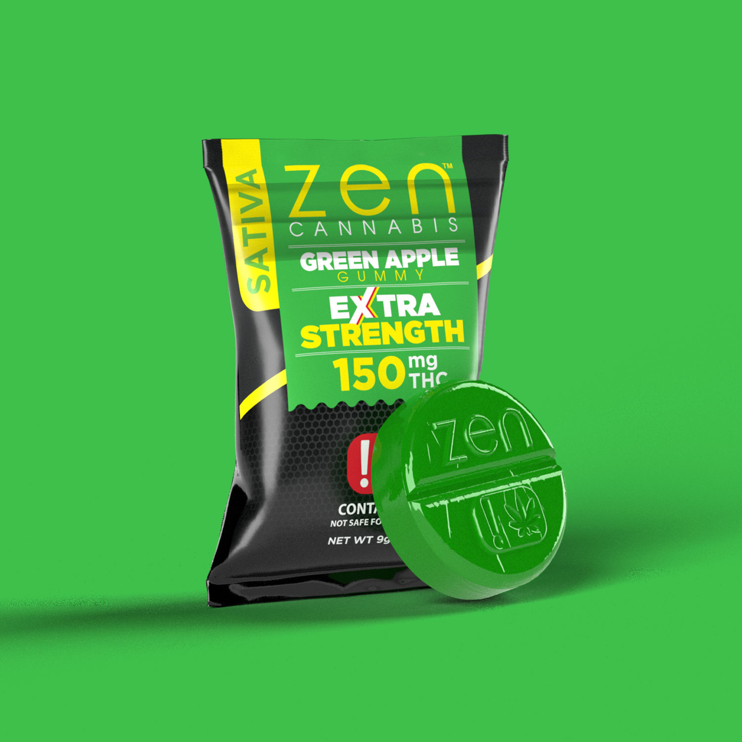 EXTRA STRENGTH  SATIVA    150mg THC  A mouthwatering tart green apple flavor that is overflowing with flavor. Gluten & fat-free